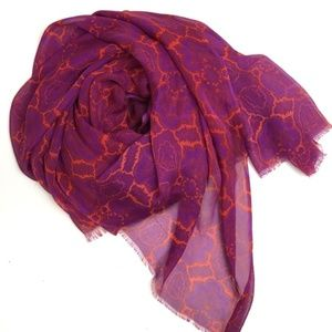 J.CREW Large Rectangular Purple Summer Silk Scarf